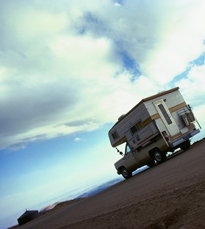 A camper travelling under the Nevada Sky
