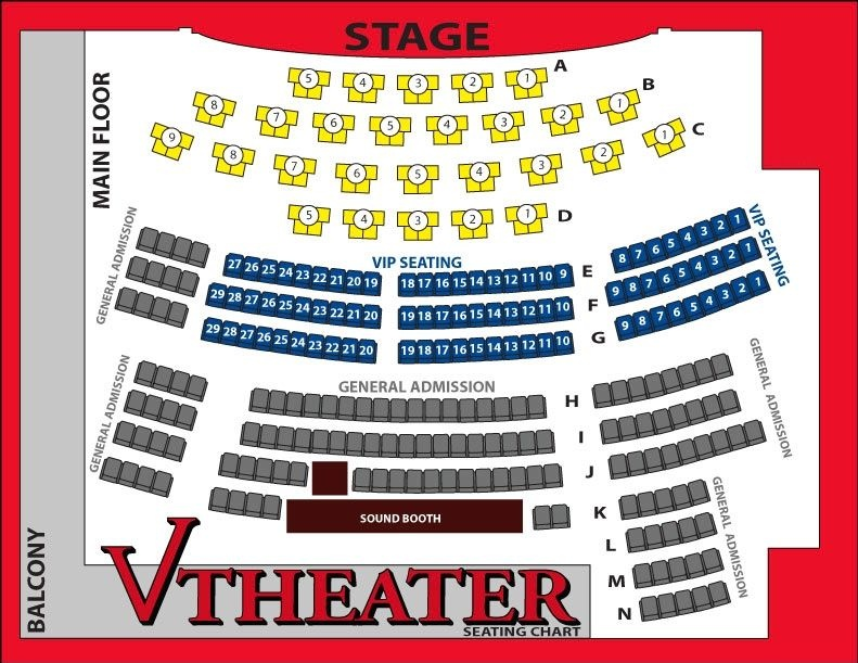 Seating chart for the Comedy Pet Theater Las Vegas show