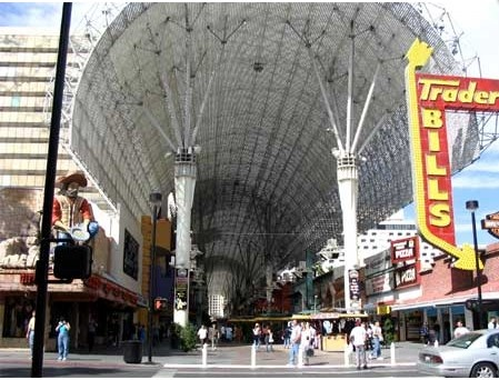 Ziplines under the Fremont Street canopy.