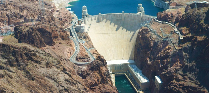The Hoover Dam, seen from a helicopter tour.